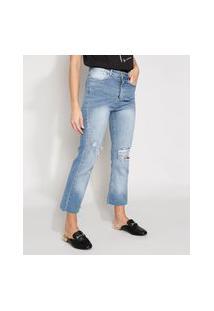 Calça Jeans Feminina Destroyed Cintura Alta Cropped Flare Com Barra A Fio Azul Claro