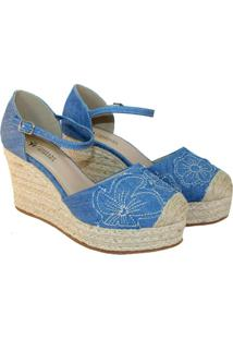 Espadrilles Anabela Tatiane Moreira - Feminino-Azul