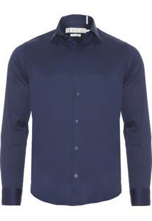 Camisa Masculina Fio 80 Premium - Azul Marinho