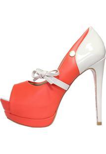 0a4884a1a ... Peep Toe Salto Alto Week Shoes Laço Laranja
