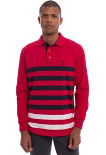 Camisa Polo Aleatory Listrada Manga Longa Share Masculina - Masculino-Vermelho