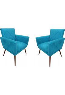Kit 02 Poltronas Decorativas Pés Tabaco Nina Estilo Costura Azul - Ds Móveis