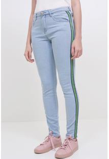 Calça Em Jeans Com Listra Na Lateral