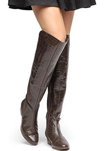 b9f970236 ... Bota Couro Over The Knee Shoestock Croco Feminina - Feminino-Café