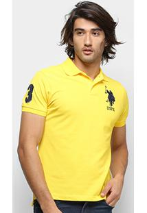 Camisa Polo U.S. Polo Assn Lisa Uspa Masculina - Masculino-Amarelo