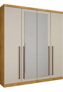 Guarda-Roupa Solteiro Com Espelho 4 Portas Hannover-Novo Horizonte - Freijo Dourado / Off White