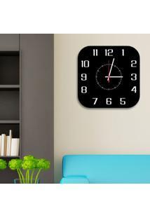 Relógio De Parede Decorativo Premium Quadrado Com Números Em Relevo Preto Ônix Médio