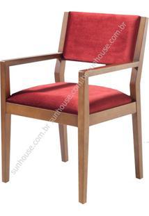 Cadeira Margarida Estofado Com Braco Veludo Vermelho - 36193 Sun House