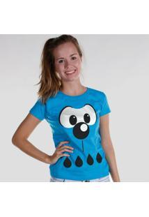 Camiseta Bandup! Turma Da Mônica Olhões - Feminino-Azul