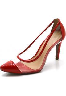 Sapato Scarpin Salto Alto Fino Em Verniz Vermelho Com Transparência - Kanui