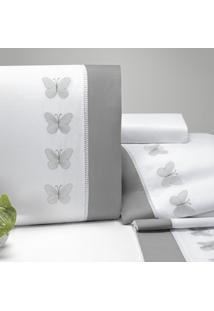 Jogo De Cama Queen Papillons 4 Peças 200 Fios Percal Casaborda Branco