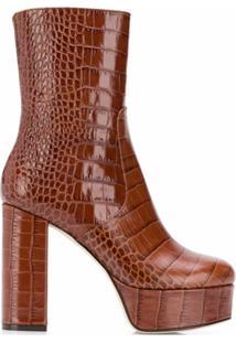Paris Texas Ankle Boot Com Plataforma - Marrom