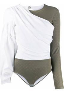 Marine Serre Blusa Mangas Longas Com Estampa De Logo - Branco