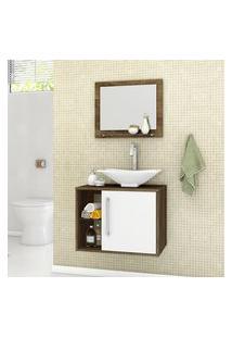 Gabinete De Banheiro Baden Com Cuba Espelheira Madeira Rústica E Branco Bechara