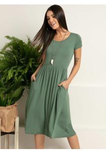 Vestido Midi Verde Acinturado Com Bolsos