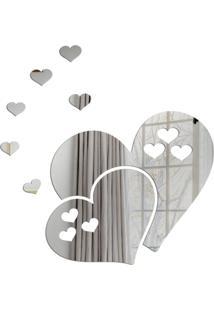 Espelho Love Decor Decorativo Corações Vazados Único - Kanui