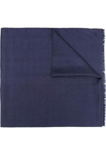 Moschino Cachecol Com Padronagem De Logo - Azul
