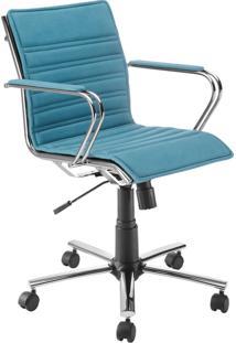 Cadeira Office Diretor Giratória Com Pistão A Gás Havenna Movelfar - Sarja Azul Turquesa - Multistock