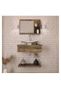 Conjunto Para Banheiro Bancada Com Prateleira E Espelheira City 607 Carvalho Dark