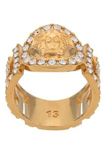 Versace Icon Medusa Crystal Ring - Dourado