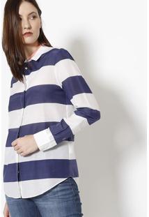 Camisa Listrada Com Seda- Branca & Azul Marinho- Laclacoste