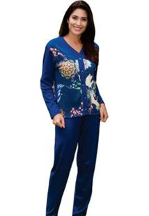 Pijama Victory Feminino Inverno Longo Aberto - Feminino-Azul Escuro