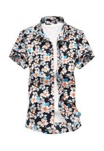 Camisa Masculina Design Florido - Azul
