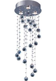 Plafon Em Inox Para 3 Lâmpadas Crystal Spiral 30X75Cm Transparente