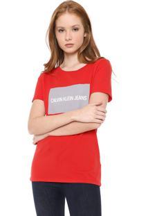 Blusa Calvin Klein Jeans Logo Vermelha