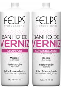 Kit Duo Brilho Banho De Verniz Felps 2X1 Litro