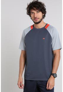 Camiseta Masculina Esportiva Ace Com Recorte Manga Curta Raglan Gola Careca Chumbo