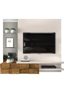 Painel Home Suspenso Para Tv Até 55 Pol. Com Espelho Lago Creme/Tronco