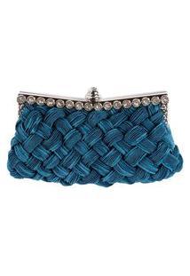 Bolsa Clutch Pashmina Em Tecido Azul Trançado Com Acabamento Em Pedraria De Cristal E Metal Prateado A12Xc21Xl2Cm