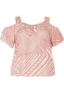 Blusa Estampada Almaria Plus Size Peri Rosa