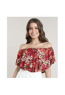 Blusa Feminina Ciganinha Cropped Estampada Floral Manga Curta Vermelha Escuro
