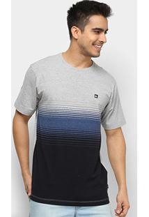 Camiseta Quiksilver Moline Stripes Masculina - Masculino-Azul Escuro