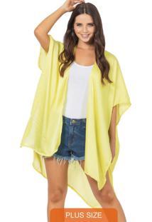 Kimono Feminino Liso Amarelo
