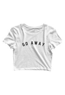 Blusa Blusinha Feminina Cropped Tshirt Camiseta Go Away Branco