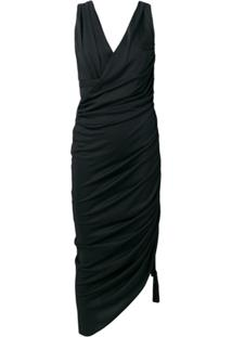 Lanvin Ruched Asymmetric Dress - Preto