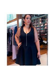 Vestido Miss Misses Rodado Regata Plus Size Preto