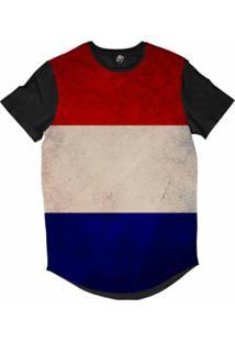 Camiseta Longline Bsc Bandeira Holanda Sublimada Masculina - Masculino-Vermelho
