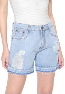 Bermuda Jeans Lança Perfume Boyfriend Destroyed Azul