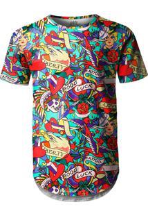 Camiseta Longline Over Fame Tatuagens Clássicas Multicolorido