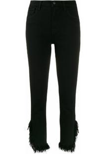 J Brand Calça Jeans Cropped Sem Acabamento Na Bara - Preto
