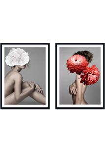 Quadro 67X100Cm Idálina Mulher Com Flores Branca E Vermelha Nórdico Moldura Preta Com Vidro