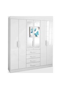 Guarda Roupa Casal C/ Espelho 6 Portas 4 Gavetas Celebrare Móveis Lopas Branco