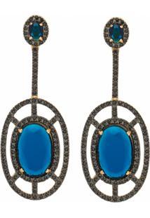 Brinco Banho De Ouro Cristal Azul Indigo E Zirconias Negras - Feminino-Azul Escuro