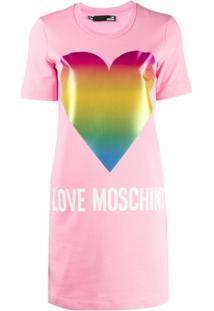 Love Moschino Vestido Reto Com Estampa De Logo - Rosa