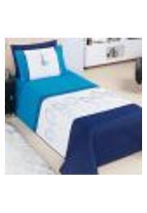 Jogo Cobre Leito Juvenil Solteiro Azul Matelado Estampado 3 Peças Com Travesseiro