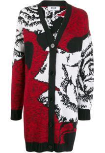 Msgm Button Front Cardigan - Vermelho